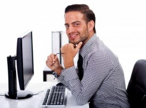 Man Using Desktop PC